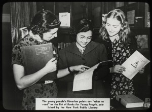 Young people's librarian and students, 1938.